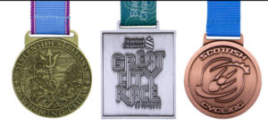 Europa Medals Lined Up 3 - Severnside Tritons Swimming Club, Great City Race, Scottish Cycling