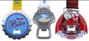 Bottle Cap Medals Lined Up - SVN Beer, Aldeburgh Team, St George's Day Marathon