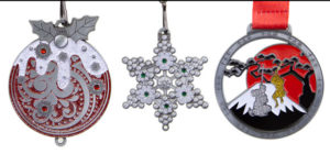 Glitter Medals Lined Up - Virtual Runner Christmas Medals