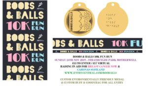 Boobs and Balls Snood and Wooden Medal - Bespoke Medals and Running Imp